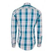 پیراهن چهارخانه مردانه سفید فیروزه ای Capricorn