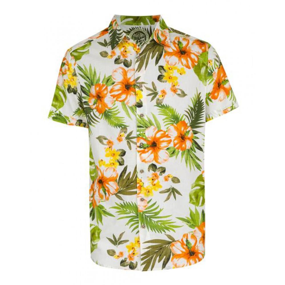 پیراهن طرح هاوایی مردانه سفید سبز Terranova