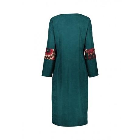 مانتو مجلسی بلند زنانه - هنروری - سبز آبی و خردلی